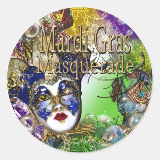 Purple green birthday masquerade mask classic round sticker
