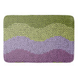Purple, green, black mosaic rug