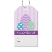 Purple Green Blue Eggs Happy Easter Gift Tags