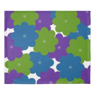 Purple, Green & Blue Floral Patterned Duvet Cover