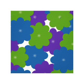 Purple, Green & Blue Floral Wrapped Canvas Print