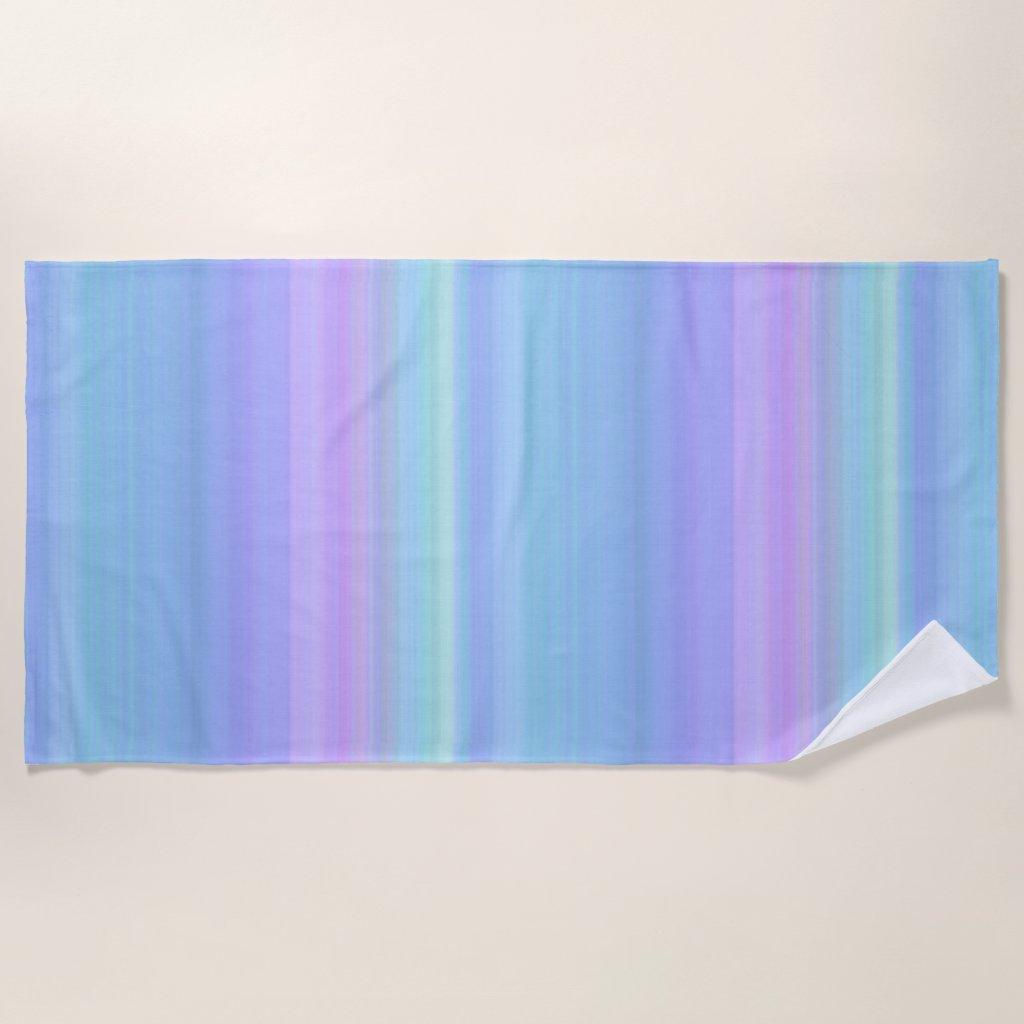 Purple Green Blue Pastel Stripes Beach Towel