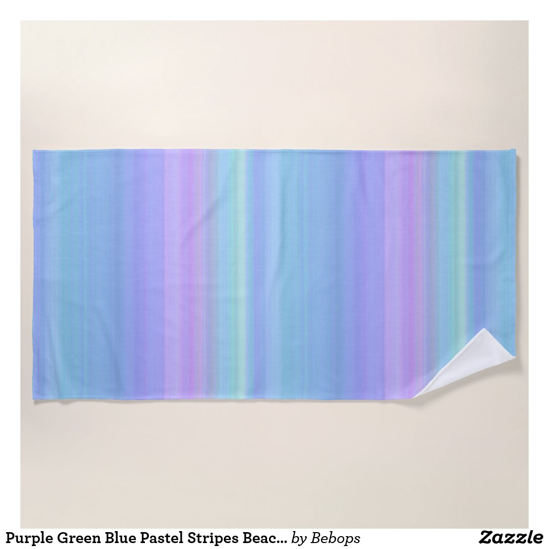 Purple Green Blue Pastel Stripes Beach Towel