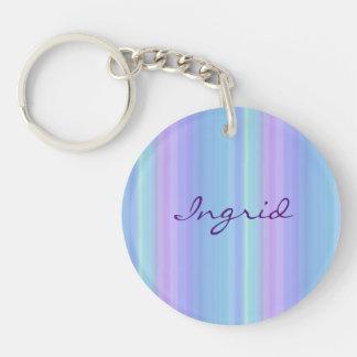 Purple Green Blue Rainbow Pastel Keychain