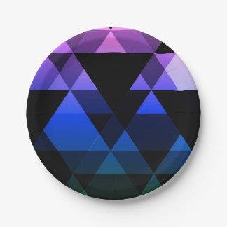 Purple, Green & Blue Triangle Design Paper Plate