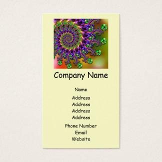 Purple & Green Bokeh Fractal Pattern Business Card