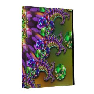 Purple & Green Bokeh Fractal Pattern iPad Cases