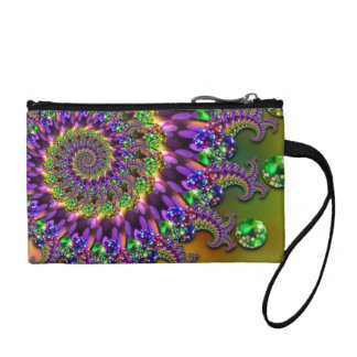 Purple & Green Bokeh Fractal Pattern Change Purse