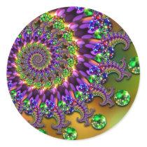 Purple & Green Bokeh Fractal Pattern Classic Round Sticker