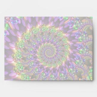 Purple & Green Bokeh Fractal Pattern Envelope