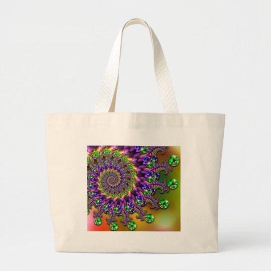 Purple & Green Bokeh Fractal Pattern Large Tote Bag