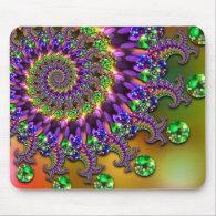 Purple & Green Bokeh Fractal Pattern Mousepads