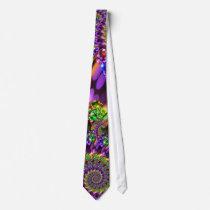 Purple & Green Bokeh Fractal Pattern Neck Tie