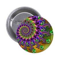 Purple & Green Bokeh Fractal Pattern Pinback Button