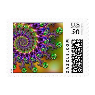 Purple & Green Bokeh Fractal Pattern Postage