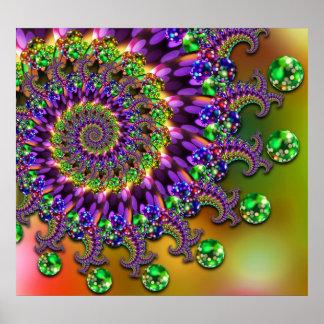 Purple & Green Bokeh Fractal Pattern Poster
