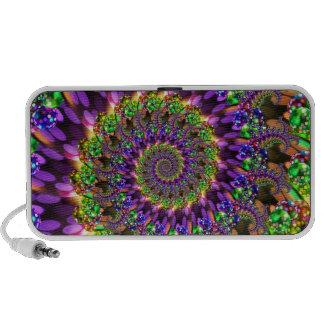 Purple & Green Bokeh Fractal Pattern Mini Speakers