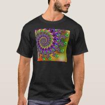 Purple & Green Bokeh Fractal Pattern T-Shirt