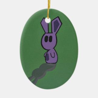 Purple & Green Bunny Ceramic Ornament