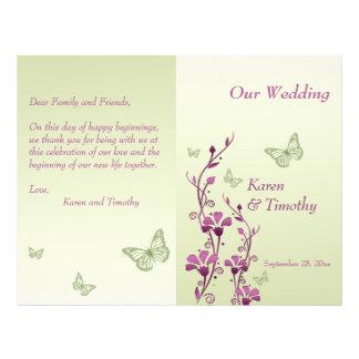 Purple, Green Butterfly Floral Wedding Program