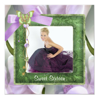 Purple Green Butterfly Photo Sweet 16 Party Card