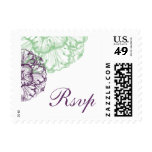 Purple & Green Cabbage Flower Wedding Reply Stamp