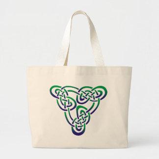 Purple Green Celtic Trinity Knot Jumbo Tote Bag