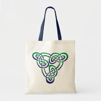 Purple Green Celtic Trinity Knot Tote Bag
