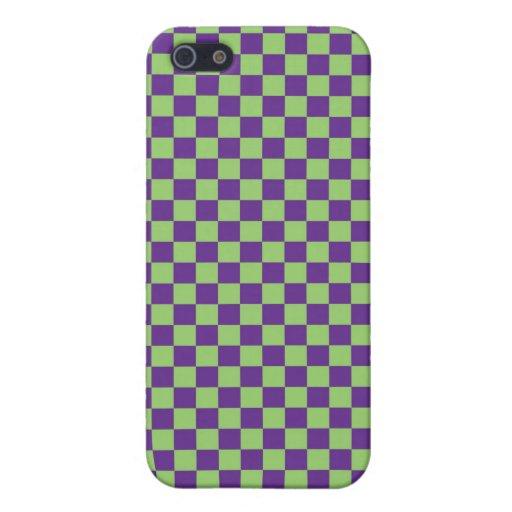 Purple & Green Checkerboard iPhone 5 Cover