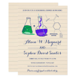 Purple & Green Chemistry Rehearsal Dinner Invites