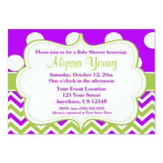 Purple Green Chevron Dots Invitation
