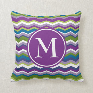Purple & Green Chevron Pattern with Monogram Throw Pillow