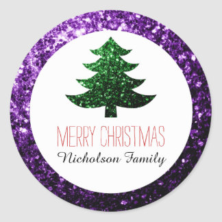 Purple + Green Christmas tree sparkles Gift Tag Classic Round Sticker