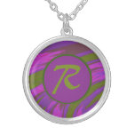 Purple Green Color Swish Monogram Silver Plated Necklace