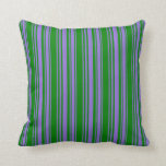 [ Thumbnail: Purple & Green Colored Stripes Pattern Pillow ]