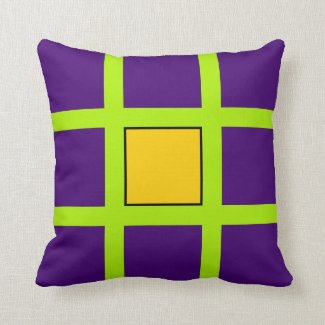 Purple, Green Cross Hairs Throw Pillow