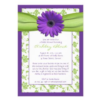 Purple Green Daisy Damask Bridal Shower Invitation