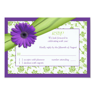 "Purple Green Daisy Floral Wedding Reply Card 3.5"" X 5"" Invitation Card"