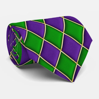 Purple & Green Diamond Pattern Mardi Gras Tie