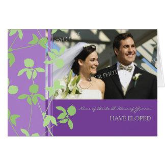 Purple Green Elopement Photo Announcement Card