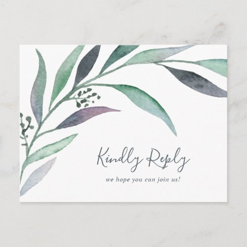 Purple Green Eucalyptus Song Request RSVP Postcard