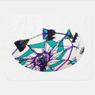 purple green fair ride flying midway swaddle blanket