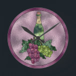 """Purple Green Faux Stained Glass Wine and Grapes Round Clock<br><div class=""""desc"""">A beautiful faux stained glass design with a bottle of wine,  red and green grapes and leaves. Purple and lavender background.Original artwork&#169;Delightful-Doodles.</div>"""