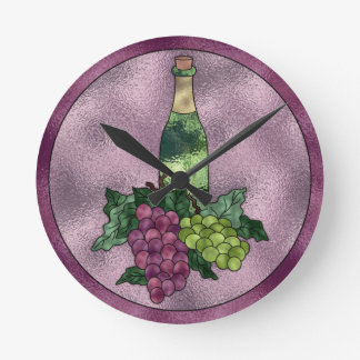 Purple Green Faux Stained Glass Wine and Grapes Round Clock