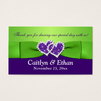 Purple, Green Floral and Joined Hearts Favor Tag