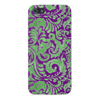 Purple Green Floral Batik iPhone SE/5/5s Cover