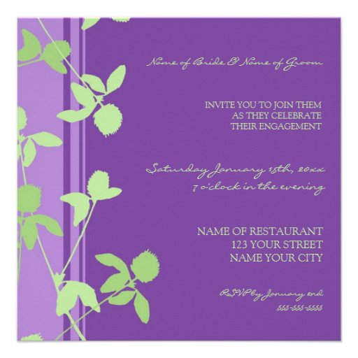 Purple Green Floral Engagement Party Invitations