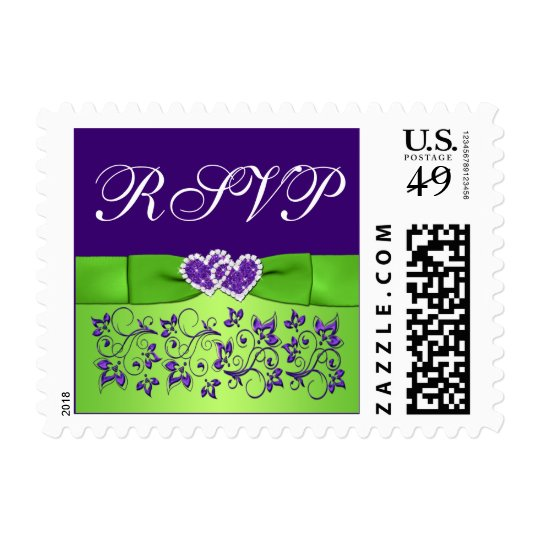 Purple, Green Floral, Hearts Wedding RSVP Postage