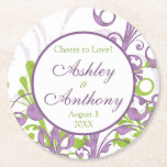 """Purple Green Floral Personalized Wedding Round Paper Coaster<br><div class=""""desc"""">Purple and green floral cheers to love personalized wedding paper coasters. Perfect for a spring or summer wedding. Great wedding reception decor.</div>"""
