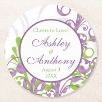 Purple Green Floral Personalized Wedding Round Paper Coaster